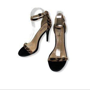 Glaze Ankle Strap Black Leopard Sandals Heels 8.5
